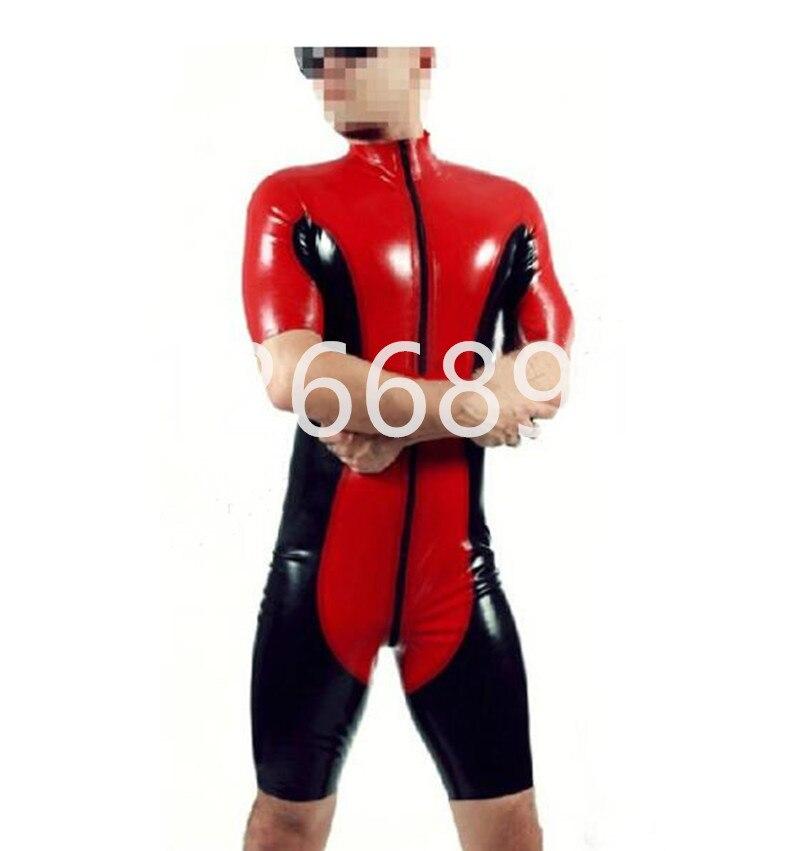 Rouge avec latex noir corps costumes manches courtes Latex joint collants fait à la main de haute qualité