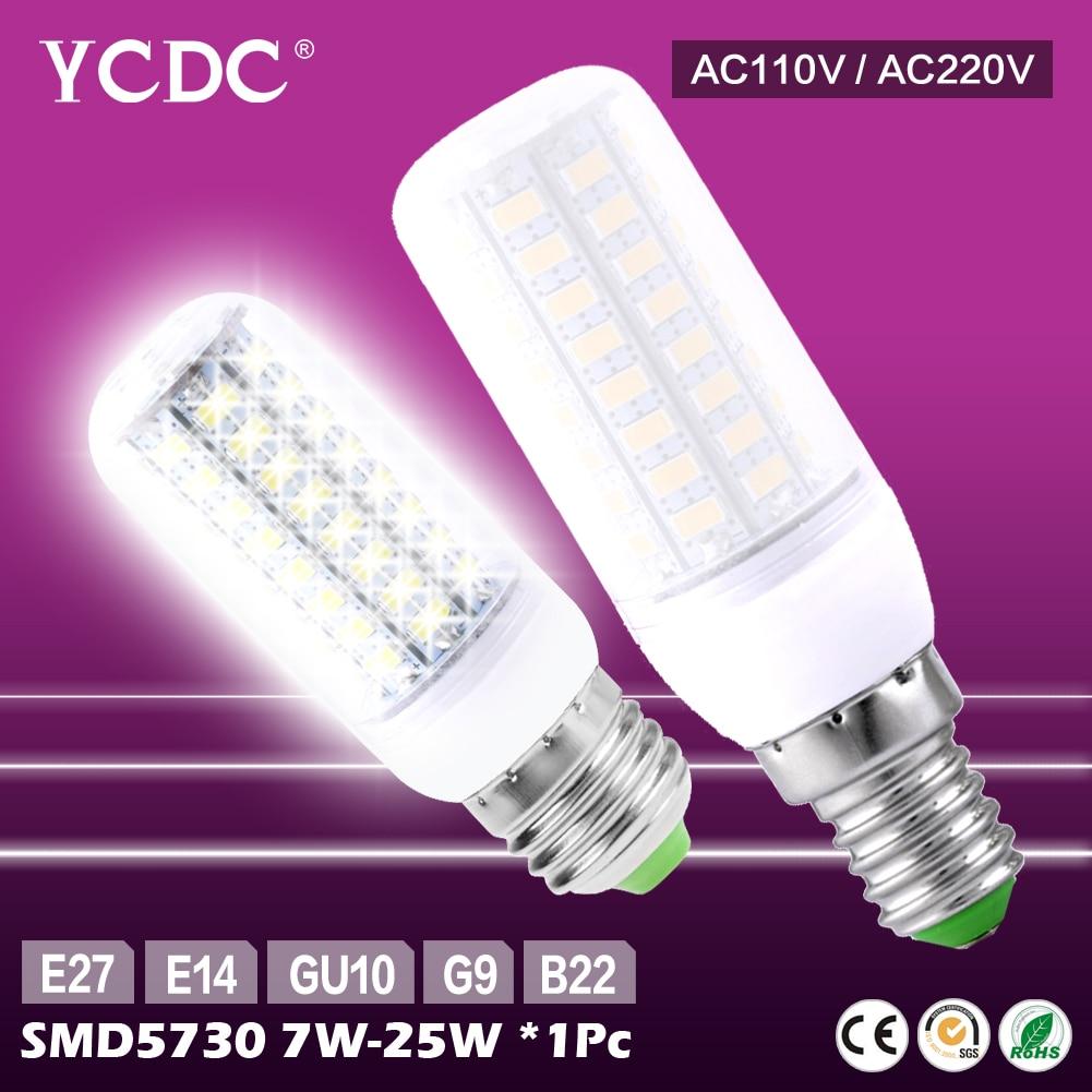 TSLEEN E27 LED Lamp E14 LED Bulb SMD5730 220V Corn Bulb 24 36 48 56 69 72LEDs Chandelier Candle LED Light For Home Decoration