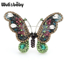 Wuli&baby Green Rhinestone Butterfly Brooches Women Alloy Insect Weddings Banquet Brooch Pins Gifts
