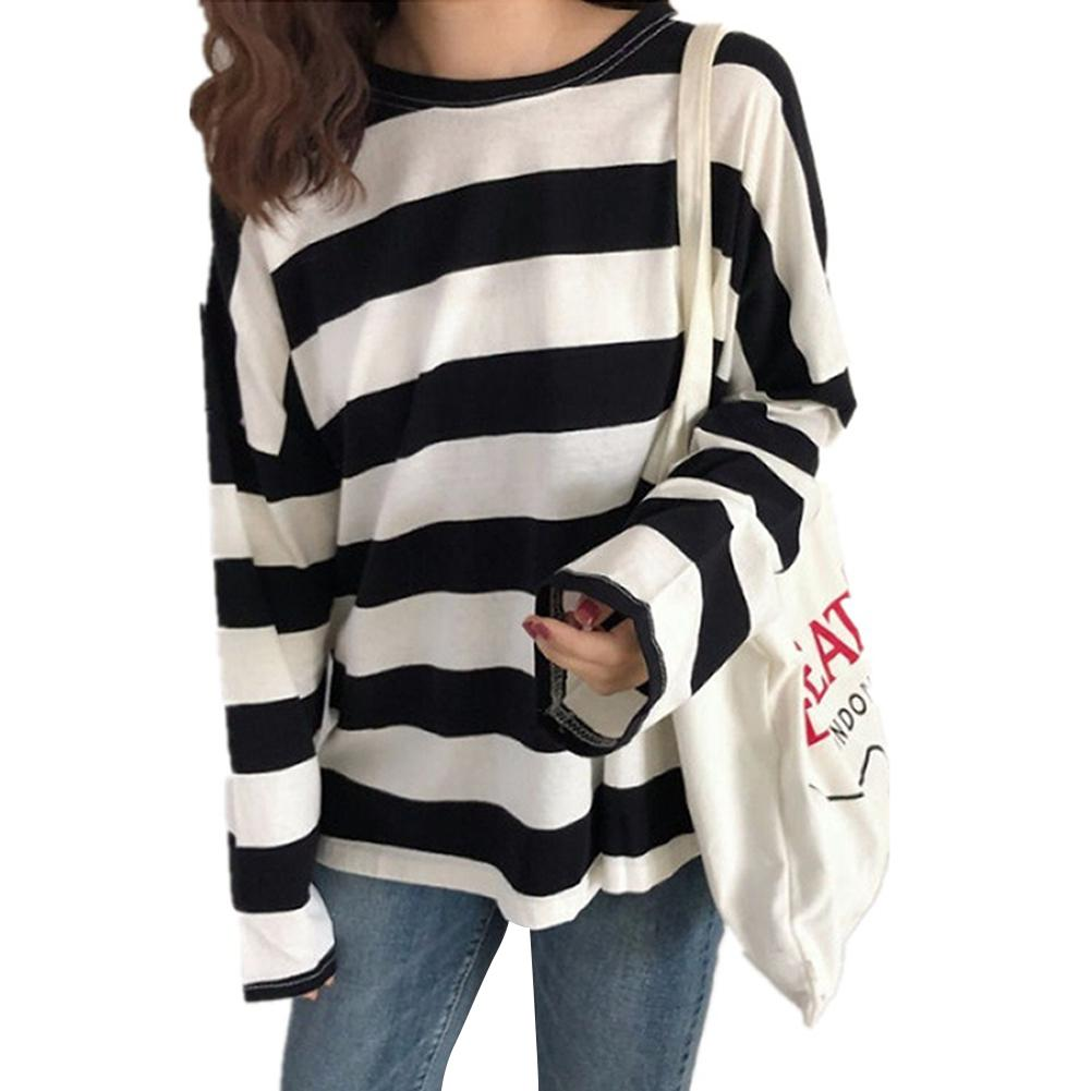 <font><b>2019</b></font> New Striped Loose <font><b>T</b></font>-<font><b>Shirts</b></font> <font><b>Women</b></font> <font><b>Long</b></font> Sleeve O Neck Female <font><b>T</b></font> <font><b>Shirt</b></font> Casual Tops Big Size <font><b>Women</b></font> Clothes image
