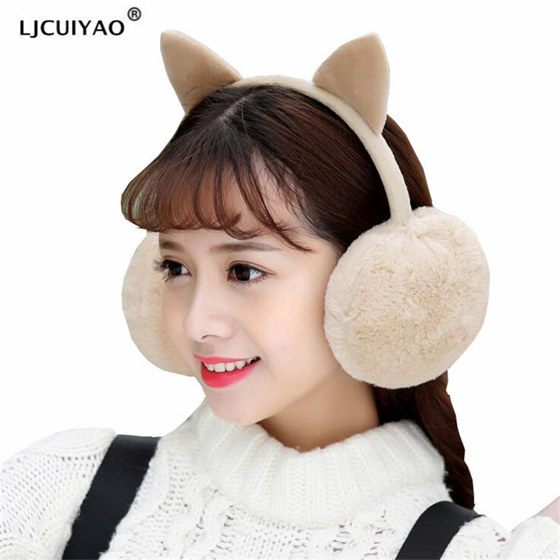 LJCUIYAO Winter Autumn Warm Faux Fur Earmuffs Cute Cat Warmers Plush Earmuff For Girls Ladies Winter Ear Coverer Women Ear Muffs