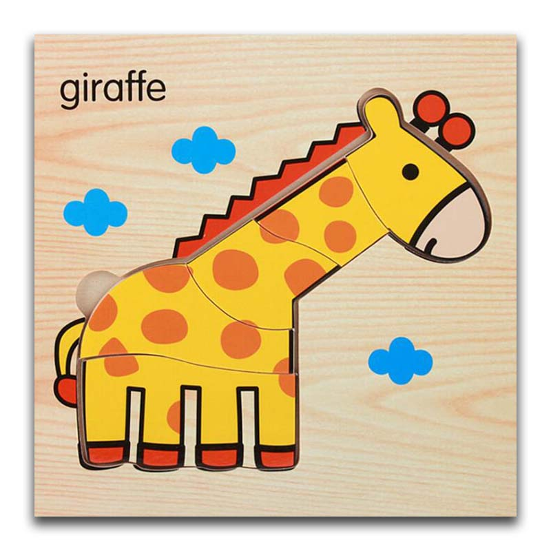 Cartoon Giraffe Wooden Animal Transportation 3d Puzzle Jigsaw Wooden Toys For Intelligence Kids Baby Early Educational Toy