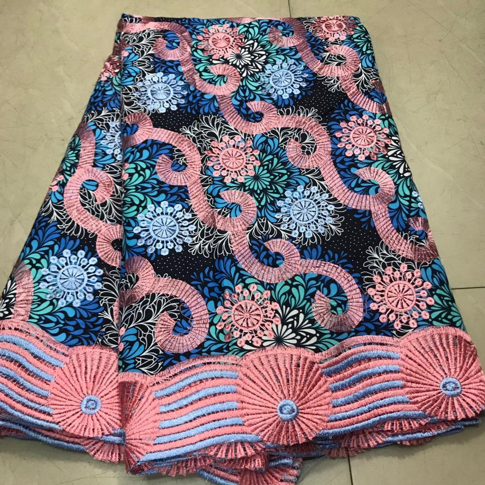 Embroidery Ankara Cotton Lace Wax Fabric Ghana Nigerian Dutch Holland Wax Pange Material African Wax For Women's Dress Party