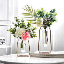 Nordic Golden Glass Vase Iron Hydroponic Plant Flower Vase Tabletop Coffee Shop Office Home Decoration Accessories Modern Decor