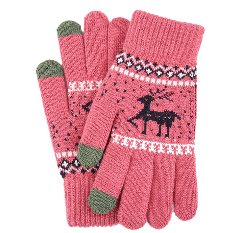New Dtl1 Knitted Touch Screen Gloves Women's Winter Korean Thickened Fawn Wool Gloves