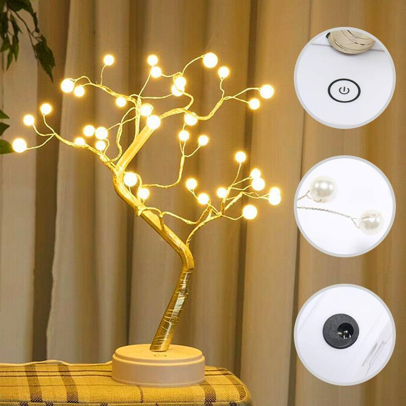 DIY Night Light Bonsai Style Touch Switch Control Home Decoration USB Led Light Holiday 36leds Tree Shape Party