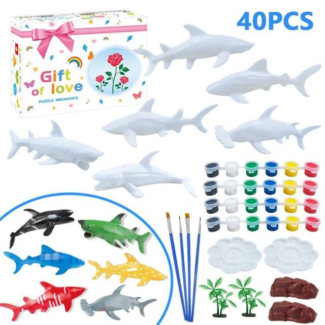DIY Coloring 3D Painting Fish Shark Model Drawing Graffiti Toy Set 1