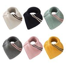 Зимний трикотажный Съемный шарф в полоску с воротником хомутом