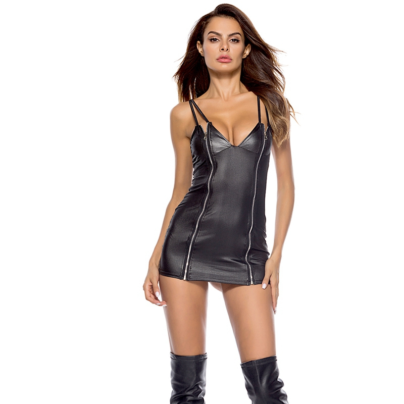 Sexy Costumes Women PVC Faux Leather Bodycon Mini Latex Dress Sexy Erotic Club Wear PU Zip Up Sleeveless Lingerie Party Dress