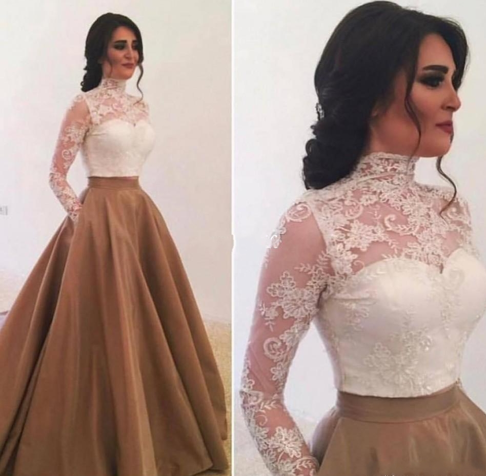 Elegant High Neck Long Sleeves Evening Dresses 2020 Saudi Arabia Lace Appliques Prom Party Gowns Special Occasion Dress