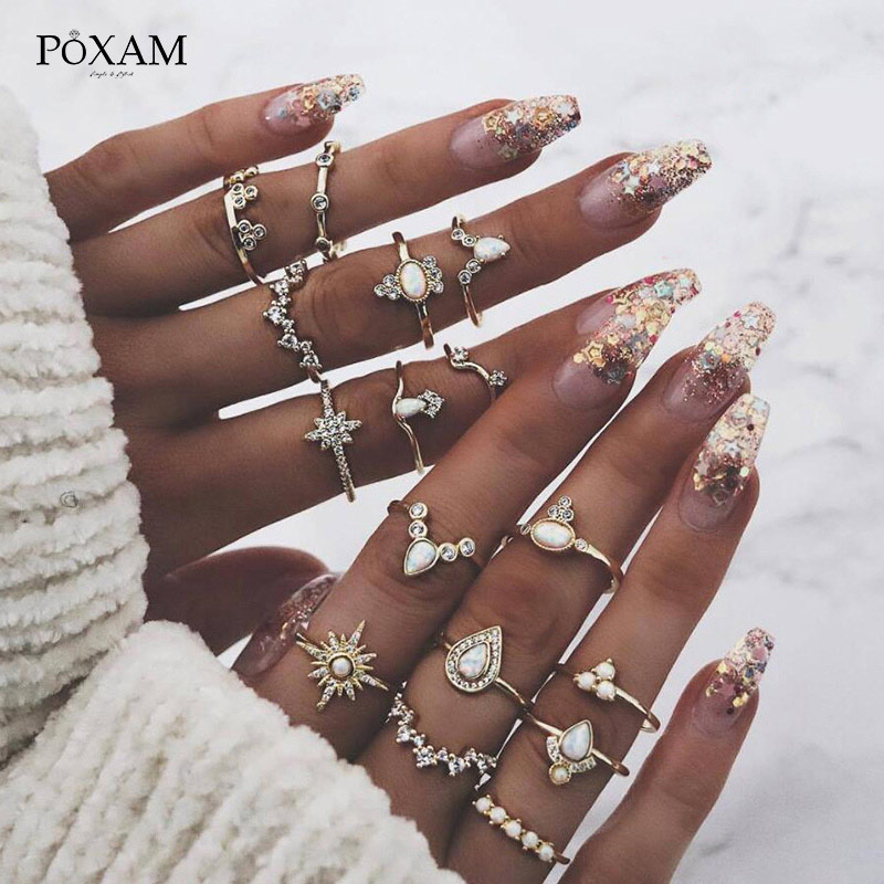 POXAM Bohemian Dainty Vintage Gold Rings Set 16 Styles Punk Geometric Wave Opal Pattern Crystal Wedding Ring For Women Jewelry image