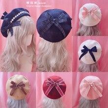 Boina japonesa de lolita para chica, Boina de lana salvaje suave para mujer, boina con lazo hecha a mano de Margarita
