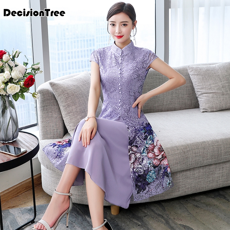 2019 Improved Cheongsam Dress Ao Dai Vietnam Clothing Lace Floral Print Ao Dai Dress Vietnamese Asian Clothes Folk Style