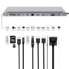 DeepFox 12-In-1 Type C Hub USB C to Dual HDMI VGA Rj45 USB 3.0 Ports SD/TF Card Reader USB-C Power Adapter Hub for MacBook Pro