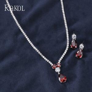 Image 5 - RAKOL New Fashion Luxury AAA Zircon Water Drop Shape Necklace Earrings jewelry Set for Women Party wedding Dress Accessories