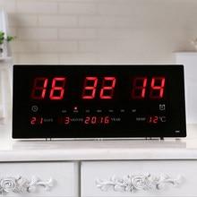 Extra Grand Écran LED Bureau Horloge Murale 24H Calendrier Temps Jours Semaines L'année Compteur de Température Projection Horloges NOUS
