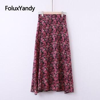 Floral Skirt Women Plus Size XXXL 4XL Casual High Waist Summer A-line Midi Skirt KKFY4479 plaid a line midi skirt