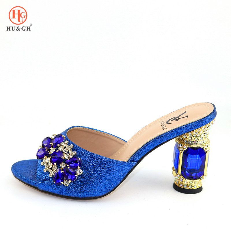 Royal Blue Best Selling For Wedding High Quality Italian Design PU Leather Adults Shoe African Woman Slippers Possible Match Bag