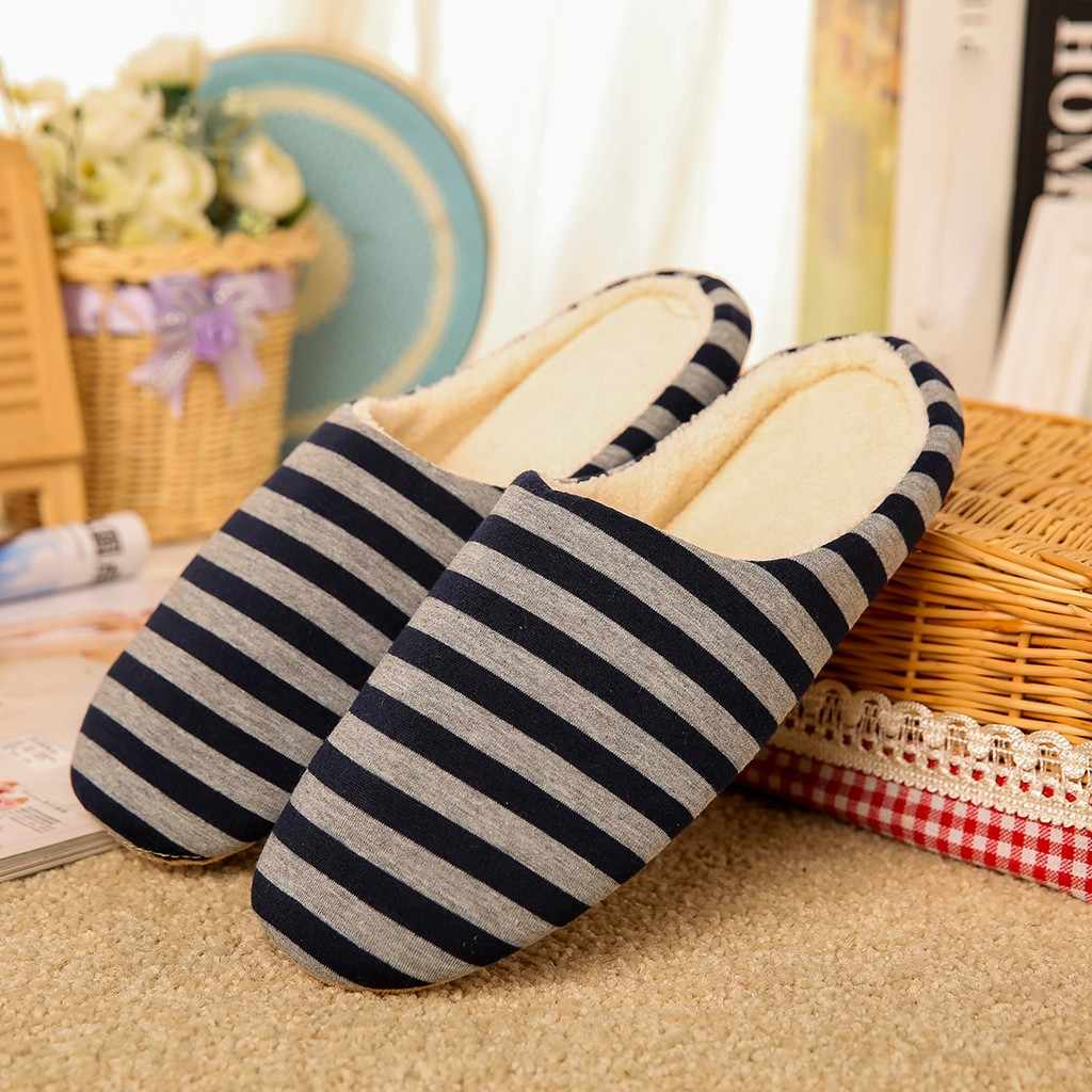 Couple Winter Warm Flat Home Plush Soft Indoor Slippers For Men Large Size Anti-slip Winter Floor Bedroom Shoes#25