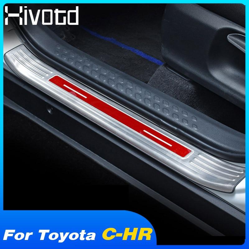 4 PCS Steel Car Door Sill Scuff Plate Guard for TOYOTA C-HR CHR 2016 2017 2018