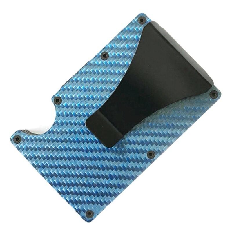 Новая мода Тонкий карбоновый держатель для кредитных карт RFID несканирующий металлический кошелек мужской Прямая - Цвет: BL