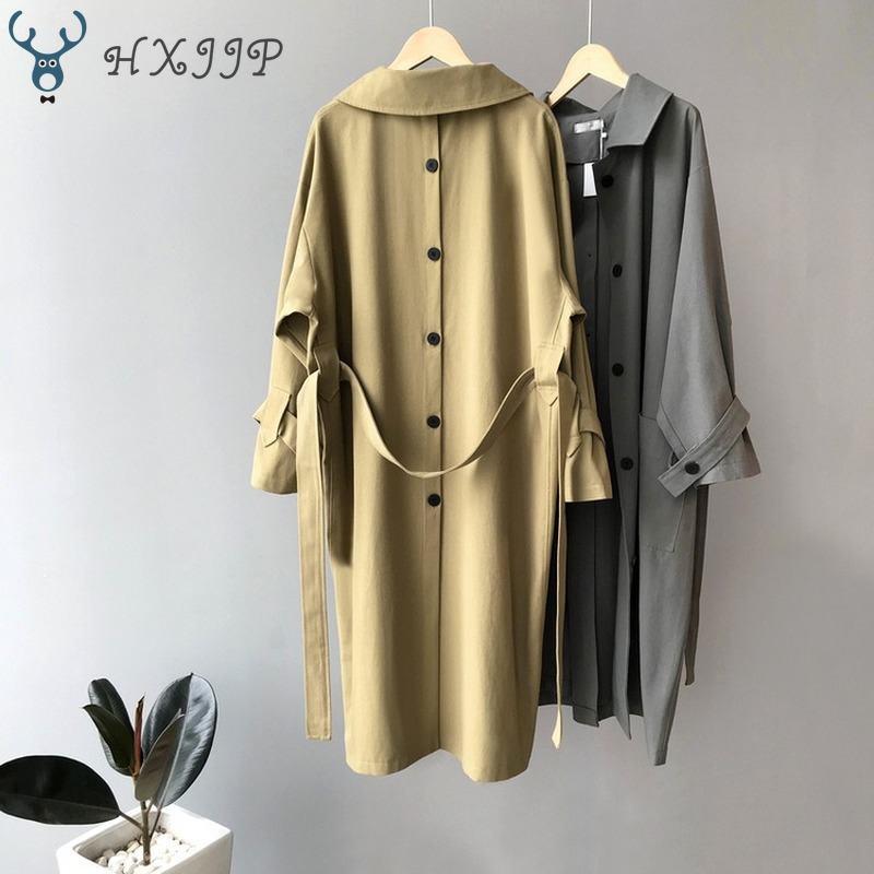 Autumn 2019 New Waist Back Button Women's Casual   Trench   Coat Oversize Adjustable Waist Vintage Washed Outwear Loose Clothing