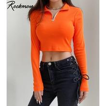 Rockmore Orange fermeture éclair t-shirt femmes Harajuku col roulé à manches longues haut court Streetwear basique t-shirt serré t-shirts chemises Y2K