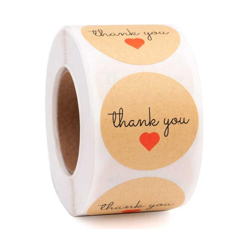 """500Pcs Round /""""Thank You/"""" Craft Packaging Seals Kraft Sealing Sticker Label Paper"""