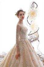 جديد فاخر الدانتيل فستان الزفاف طويل مع كم فستان زفاف لفندق الحديقة الزفاف أنيقة فستان عروس vestido de casamento 2020