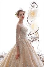 New Luxury Lace Wedding Dress Long With Sleeve Bridal Gown For Hotel Lawn wedding Elegant Bride Dress vestido de casamento 2020