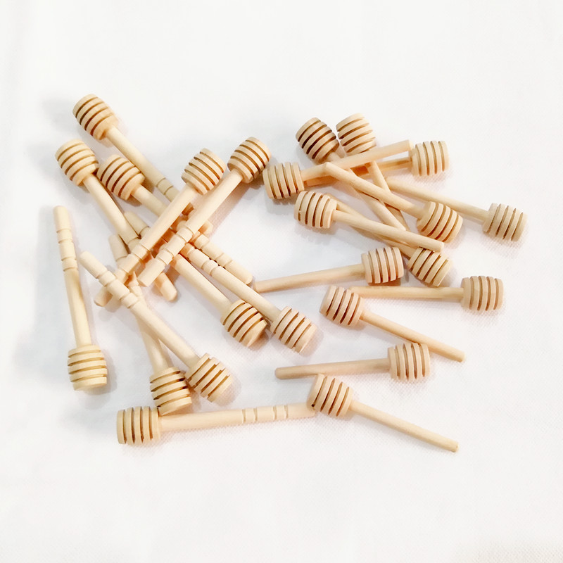 """100PCS 3/"""" Small Wooden Honey Spoon Dipper Tiny Wood Dippers Stick Drizzler"""