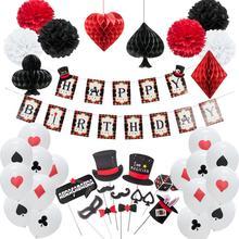 Bannière de joyeux anniversaire, ballons en Latex, décoration de fête à thème de Casino, Logo de Poker suspendu, accessoires de stand Photo, fournitures de fête spectacle magique
