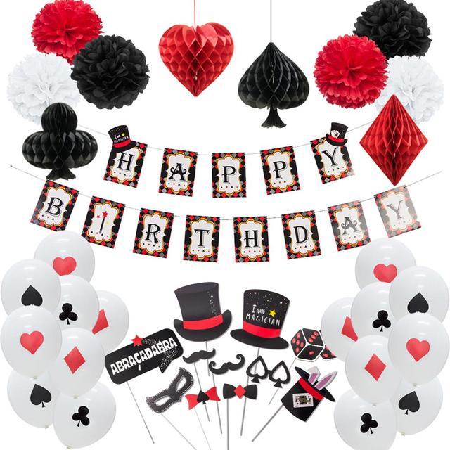 Kasyno dekoracja na imprezy tematyczne Poker Logo wiszące baner urodzinowy lateksowe balony foto budka Prop pokaz magii zaopatrzenie firm