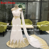 2020 Real Photos Mermaid Bridesmaid Dresses With Gold Appliques Streamer Women One Shoulder White Long Prom Wedding Party Dress