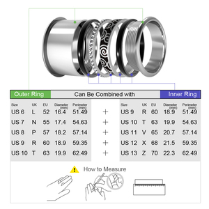 Image 5 - Floya Black Ring Stainless Steel Vintage Interchangeable Rings Set Women Stackable Band Ring Luxury Package Anillos Mujer