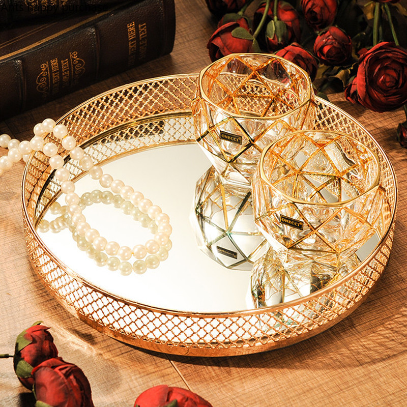 Rectangular Round Storage Tray Gold Mirror Square Tray Decoration Dressing Table Cosmetic Jewelry Storage Box Dessert Display Aliexpress