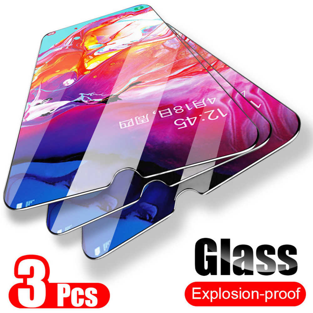 3 قطعة الزجاج المقسى لسامسونج غالاكسي A51 A50 A70 A40 A20 A10 حامي الشاشة واقية الزجاج على سامسونج غالاكسي A51 A71 الزجاج