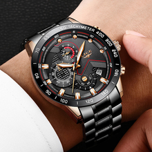 Relogio Masculino 2019 LIGE Business Men Watch Luxury Brand Stainless Steel Wrist Watch Male Military Chronograph Quartz Watches sinobi full stainless steel business men watches chronograph quartz watch color rotatable bezel white number relogio masculino