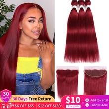 ישר 3 חבילות שיער עם תחרה פרונטאלית 13x4 אדום בורגונדי 99J 30 ברזילאי רמי שיער טבעי 3 חבילות עם תחרה ClosureEuphoria