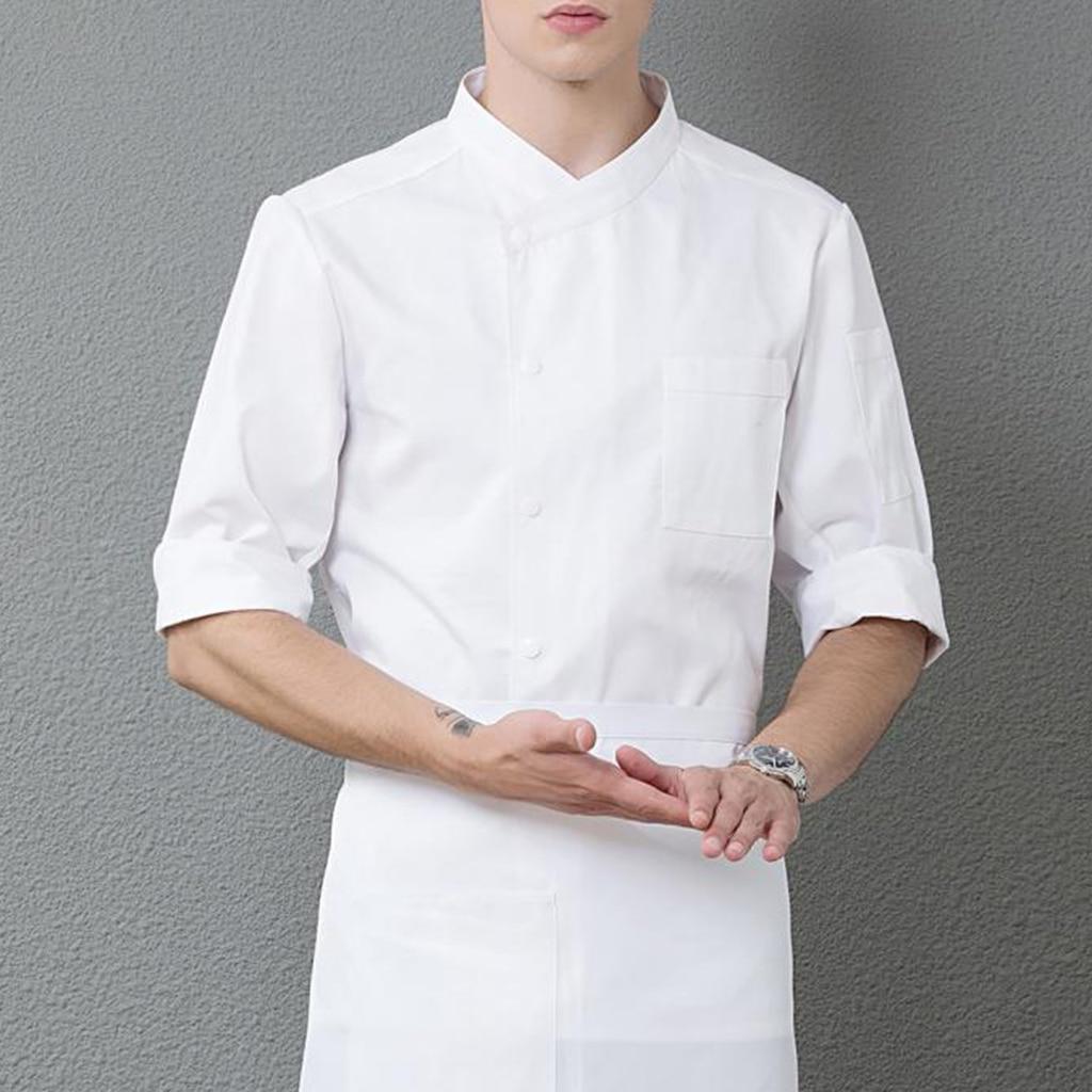 Fashion Hotel Restaurant Kitchen 3/4 Sleeve Chef Coat Jacket Cook Wear 2XL