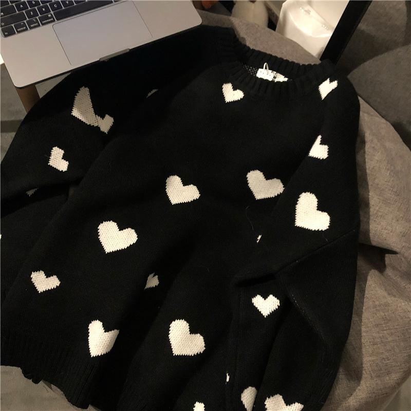 Nomikuma 2020 Autumn Winter Women Sweater Korean Love Heart Knitted Pullover Tops Causal Long Sleeve O neck Pull Femme b037