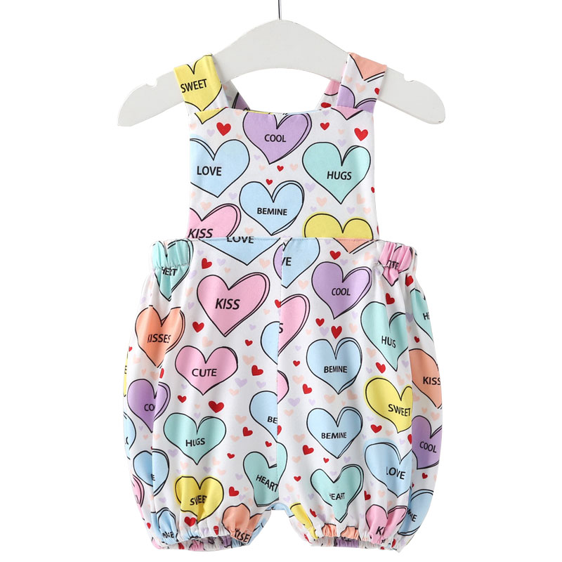 New Born Baby Clothes Girls Rompers Love Heart Pink Ruffle Romper Rainbow Bloomers Toddler Jumpsuit Cute Infant Clothing Summer