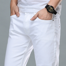 Slim Jeans Men's Fashion Elastic New-Brand-Clothing Casual Cotton Business Youth White