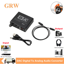 Grwibeou HIFI DAC Amp Digital To Analog Audio Converter Decoder 3.5mm AUX RCA Amplifier Adapter Toslink Optical Coaxial Output