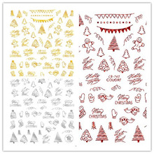 Newest CB sereis CB-142 Christmas series 3d nail art sticker decal stamping export japan designs rhinestones  decorations
