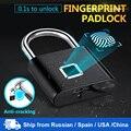 Towode Keyless USB Aufladbare Türschloss Fingerprint Smart Vorhängeschloss Schnell Entsperren Zink legierung Metall Selbst Entwicklung Chip