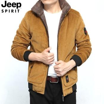JEEP SPIRIT Winter Jacket Men Corduroy Coat Men Windbreaker Warm Parka Jacket Men Thick Velvet Parka Hombre Men Winter Jacket