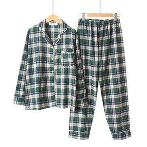 Image 3 - Sonbahar Yeni Kadın Gevşek Eğlence Uzun Kollu Pijama Mujer Çift Pijama Seti Saf Pamuk Ekose Artı Boyutu Pijama Pijama mujer