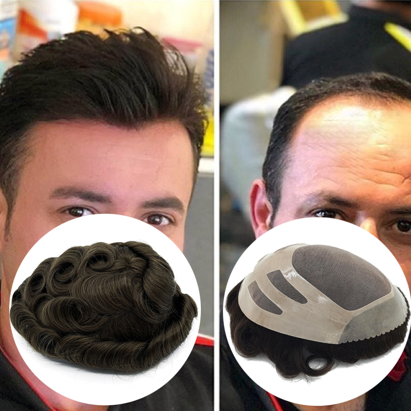 Human Hair Mono Top Bond Toupee Free Style In Large Quantity Stock