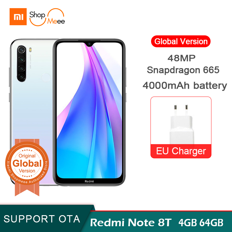 New Arrival Global Version Redmi Note 8T 4GB RAM 64GB ROM Snapdragon 665 Octa Core 6.3 'FHD + 48MP QuadCamera 4000mAh 18W NFC